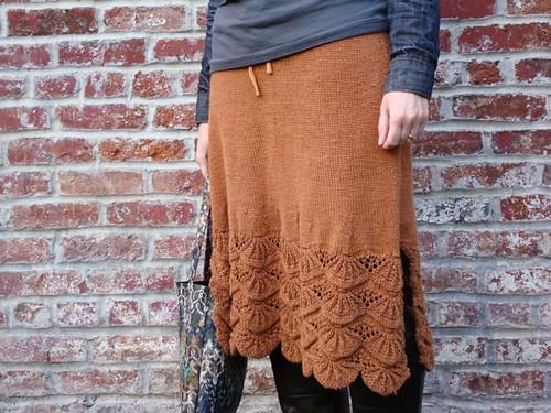 Cinnamon Hemp Skirt, partial side view