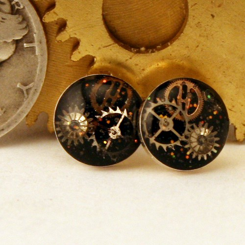 Steampunk Jewelry Cog Earrings, Sterling Silver Studs