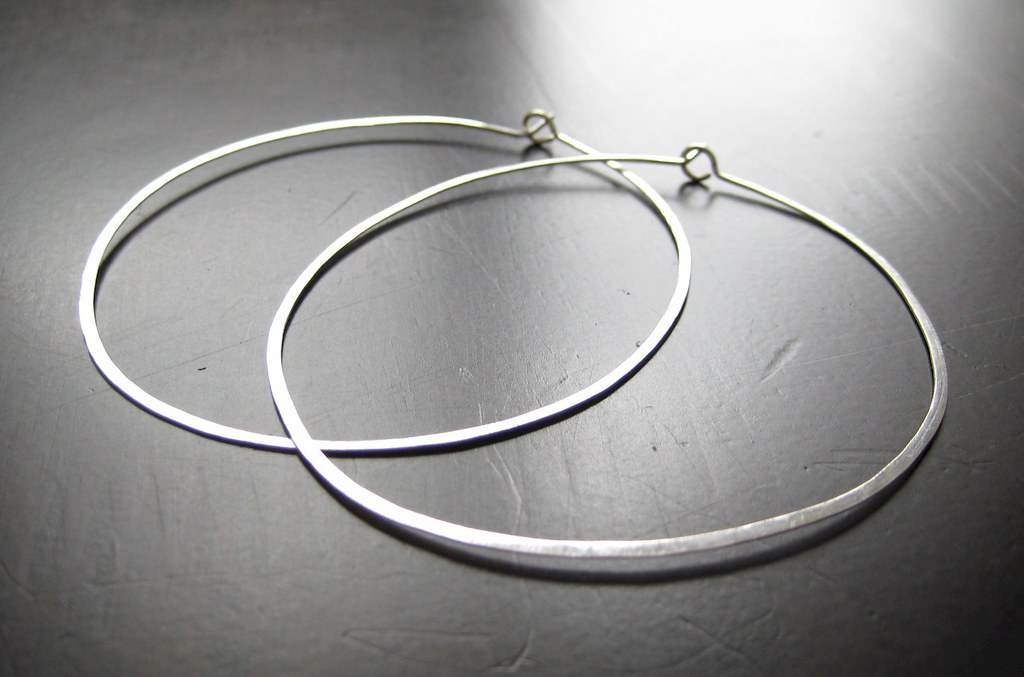 Modern Hoops. Earrings - Hammered sterling silver round hoops - Extra Large, 2.5 inches