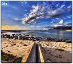 Concrete TWIX Bar... Yummy. (Ryan Eng) Tags: ocean sunset sky beach water clouds hawaii sand rocks oahu explore dri hdr verticalpanorama waianae digitalblending sigma1020 explorefrontpage mailipoint explore6 nikond90 vertorama ryaneng ryausting nikonflickraward50mostinteresting