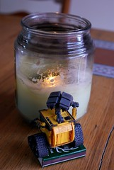Day 71 - WALL-E Lights a Candle (cappndave) Tags: toy fire robot candle cincinnati sony flame matches walle sonya200