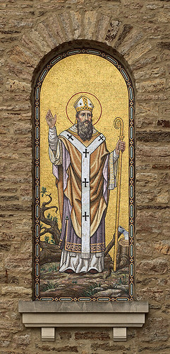 Saint Boniface Roman Catholic Church, in Germantown, Illinois, USA - mosaic of Saint Boniface