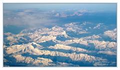 from a plane (Jacqueline Clowting) Tags: blue sky snow alps clouds blauw sneeuw wolken bergen uitzicht alpen lucht plain vliegtuig