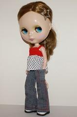Blythe Pants - Red top-stitch