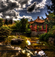 042510 Rmd Temple 6603 HDR (Kyle Bailey - Da Big Cheeze) Tags: inspiration canada water vancouver clouds canon garden temple pagoda pond worship shrine bc buddha buddhist religion buddhism richmond professional example zen serene chinesegarden forbiddencity dslr inspire buddhisttemple hdr highdynamicrange critique buddhastatue religiousplaces kylebailey rookiephoto dabigcheeze wwwrookiephotocom