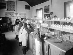 Science laboratory at Waterpark College, Waterford (National Library of Ireland on The Commons) Tags: school ireland students december 1st saturday charts chemistry elements 1900 20thcentury blackboard waterford munster pupils glassnegative chemistrylab bunsenburner schoolboys sciencelab christianbrothers troubleabrewin nationallibraryofireland ahpoole waterparkcollege poolecollection arthurhenripoole johnstonsillustrationsofchemistry