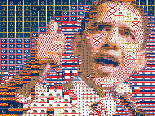 Obama as a mosaic of US state flags; used under a CC by-nc-nd licence