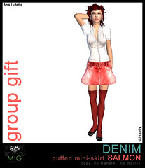 [MG fashion] DENIM puffed mini-skirt SALMON (group gift)