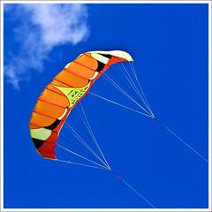 Stillwater Kites (hz536n/George Thomas) Tags: blue summer sky orange kite oklahoma yellow stillwater 2008 canon30d canonef70200mmf4lusm