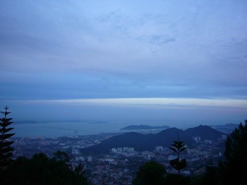 view from penang hill at dusk
