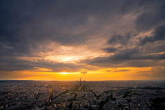 Paris (Aur from Paris) Tags: city sunset sky panorama paris skyline clouds landscape town bravo toureiffel vue soe ville tourmontparnasse themoulinrouge eos5d aur twtmeiconoftheday theunforgettablepictures
