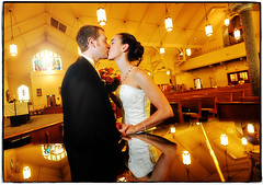 Light-headed (Ryan Brenizer) Tags: wedding woman man reflection love church groom bride nikon kiss iowa davenport 1735mmf28d formals d3 chelseaandgarrett