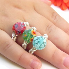 Chubby Little Fingers All Dressed Up (Luttrell Studio) Tags: canada metal children handmade jewelry canadian ring jewellery indie bead handcrafted artisan sterlingsilver wirewrapped millifiori