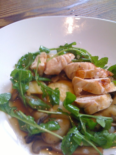 rabbit, mushrooms, ravioli, arugula