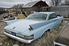 1961 Chrysler (Curtis Gregory Perry) Tags: auto blue usa southwest abandoned car america us automobile united nevada mobil vehicle motor states chrysler abandonment fins automvil goldfield xe automobil     samochd silverstate  kotse  otomobil   hi   bifrei  automobili   gluaisten