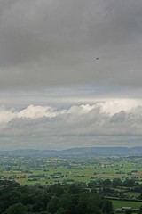 Helicopter over the Somerset Levels (Simon J. Newbury) Tags: storm tower church clouds cloudy aircraft ruin glastonbury overcast somerset vale helicopter tor stmichaels levels avalon isleofavalon