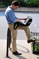 newyork manhattan laptop broadway starbucks dell upperwestside hood peeps bicyclerack