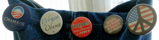 Political Buttons on the S.P.E.W Tote