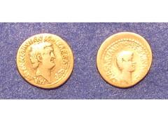 Roman Imperatorial denarius: Marc Antony and Octavian (Baltimore Bob) Tags: rome silver coin ancient roman caesar emperor augustus octavian triumvirate marcantony triumvir denarius imperatorial marcusantonius