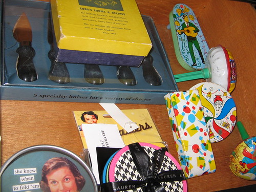 coasters, cheese knives, vintage noisemakers