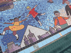 Trolley Stop Mosaic in the space between the C&I Bank Building and Autozone Park