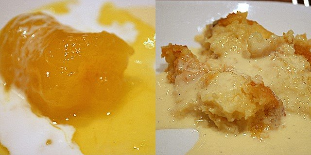 Sweet tapioca braised in honey; bread and butter pudding with vanilla sauce