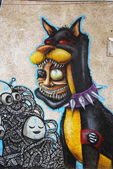 Another nazi dobermann (mrzero) Tags: dog streetart detail eye art colors face lines animal wall mos skulls effects graffiti mural paint bell character nazi style poland meeting spray human styles colored graff wroclaw aryan cfs dobermann ciah mrzero meetingofstyles pixelpancho
