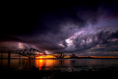 Bridges (scott masterton) Tags: sunset seascape scotland edinburgh pentax explore hdr firthofforth forthbridges sigma1020mm 3xp photomatix k100d coastuk