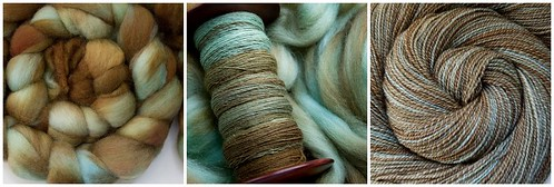From fiber to yarn:  Pigeonroof Studios BFL in Corrosion