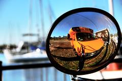 summer's end (mudpig) Tags: school bus water yellow sailboat marina geotagged mirror boat newjersey jerseycity bokeh nj rapper hdr mudpig stevekelley