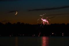 Moon and Fireworks (DreamersRealm) Tags: sunset summer moon lake twilight fireworks adirondacks brantingham brantinghamlake