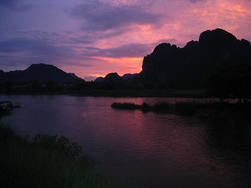 Sunset over Nam Song and mountains