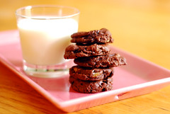 Chocolate Chocolate Chip Cookies.  (&Milk!)