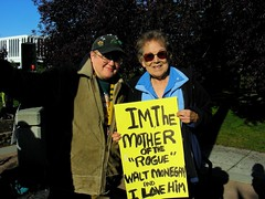 Me with Walt Monegan's mom Betty (yksin) Tags: alaska politics rally protest anchorage accountability yksin itse abuseofpower sarahpalin troopergate bettymonegan taliscolberg waltmonegan