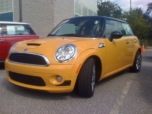Yellow MINI Cooper S at MINI of Annapolis - Taken With An iPhone
