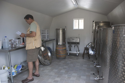 You wouldnt believe how much chemistry goes into wine making. Heres Andy The Mad Scientist in his lab. . . er fermentation shed.