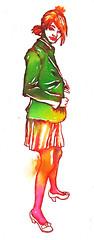 highschool girl 2 (Nat O) Tags: color green art girl illustration ink drawing     unform