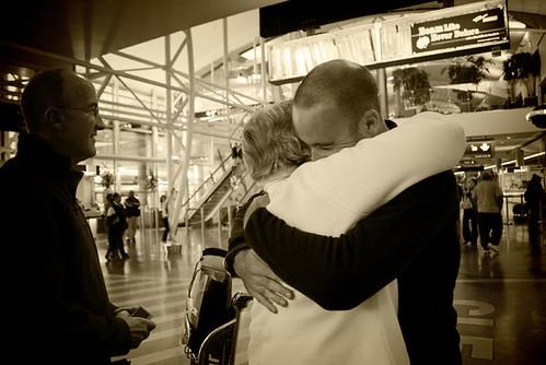 Tearful reuniuon with parents at Auckland Airport, New Zealand