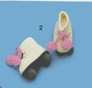 Crochet roller blade bootees