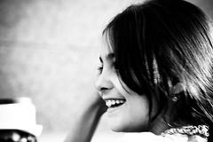 innocence (jess vds) Tags: portrait bw smile face contrast laughing canon eos child nb enfant sourire profil facialexpression eos400d