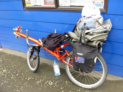 The bike loaded heavy with tubes in Taumarunui, New Zealand