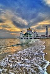 Masjid Selat Melaka I (Firdaus Mahadi) Tags: history beach clouds evening muslim islam mosque muslimah malaysia awan hdr highdynamicrange melaka masjid malacca pantai    petang  bandarhilir  5exposures singleraw  hdrattempt masjidselatmelaka manfrotto055xprob malaccahistoricalcity selatmelaka tokina1116f28 hdrmy islamcultureandpeople firdausmahadi melakabandarayabersejarah melakastraitmosque  firdaus