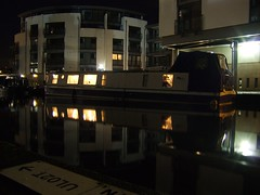 Lochrin Basin at night 2 (byronv2) Tags: reflection building architecture night scotland boat canal edinburgh apartment barge waytowork tollcross unioncanal lochrinbasin edinburghbynight