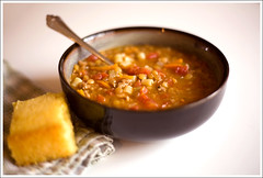 Lentil and Sausage Soup with Golden Sweet Cornbread ([Christine]) Tags: recipe lunch soup sausage cornbread lentil