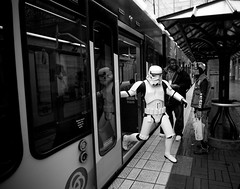 Interstellar Mass-Transit (Ar'alani) Tags: blackandwhite max oregon train portland starwars stormtrooper 501st legion cloudcitygarrison