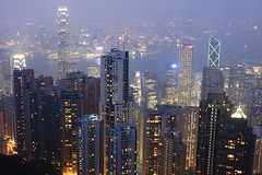 Notorious Hong Kong Haze (A Sutanto) Tags: china city hk tower skyline night skyscraper buildings island hongkong grey lights twilight haze cityscape view towers gray central scenic peak commercial thepeak kowloon ifc hkg skycrapers offices hongkongisland victoriapeak southchina bankofchina victoriaharbour ifc2 2ifc earthnight residentail