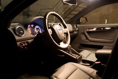 2009 Audi A3 Interior (Steve Rosset) Tags: new longexposure black car leather sport modern night geotagged lights alley automobile interior wheels automotive tagged german a3 18 audi rims titanium geo luxury 2009 premium sporty hatchback quattro 18s luxurious pianoblack lavagrey steverosset steverossetphotography