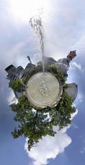 Fountain planet (vitroid) Tags: park panorama fountain nagoya sakae    stereographic