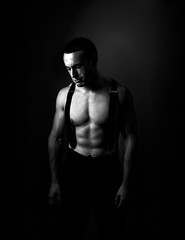 (Ben Bridges Photography) Tags: muscles nikon muscular strong suspenders abs jacked weightlifter dresspants strobist benbridgesphotography stevebrandis seemlessbackground