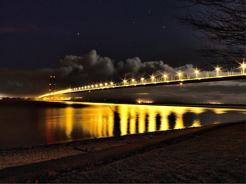 Humber Bridge At Night HDR